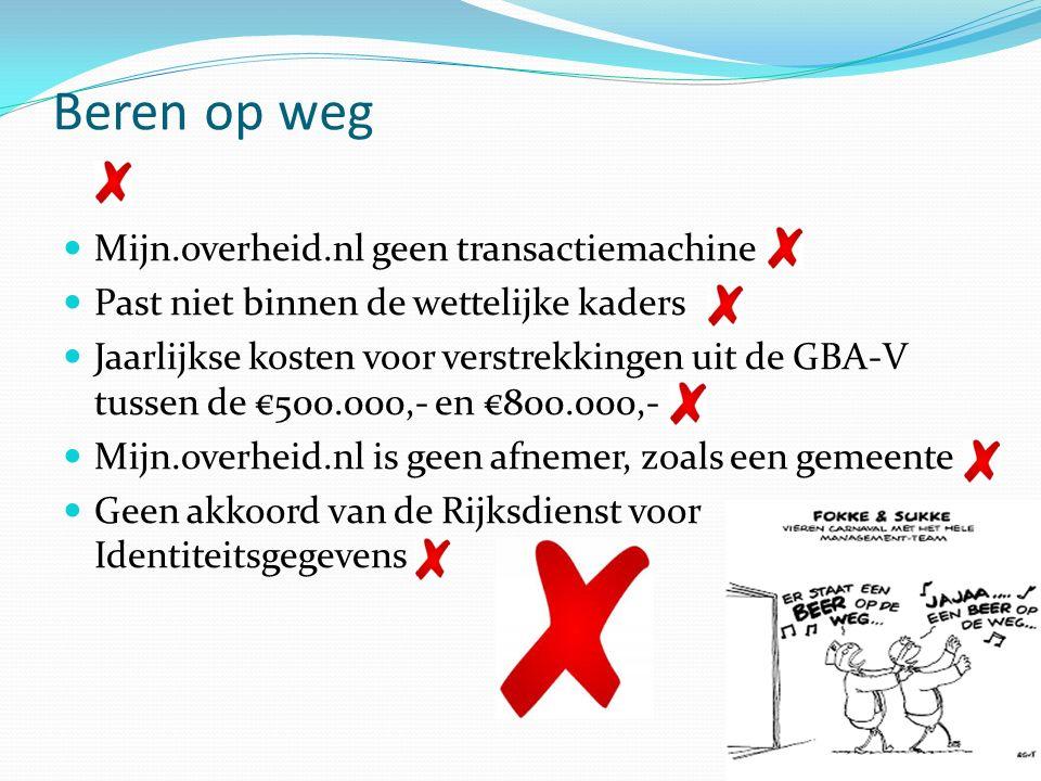 Beren op de weg (maar niet in het bos) Mijn.overheid.nl wordt wel transactiemachine Oplossing passend gemaakt binnen de wettelijke kaders Jaarlijkse kosten voor raadplegingen uit de GBA-V €0,00.