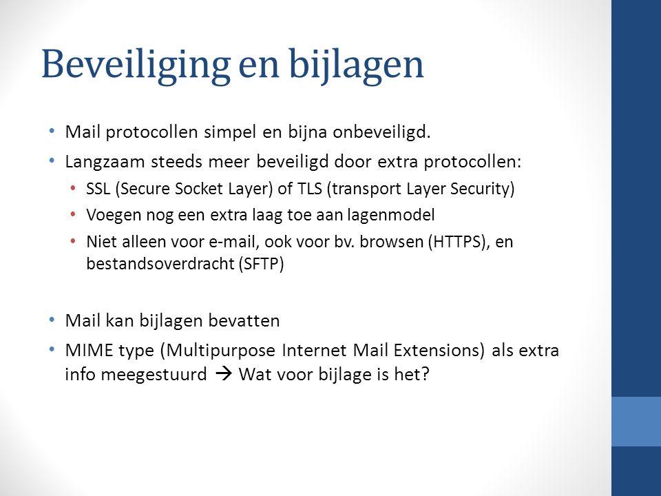 Beveiliging en bijlagen Mail protocollen simpel en bijna onbeveiligd.