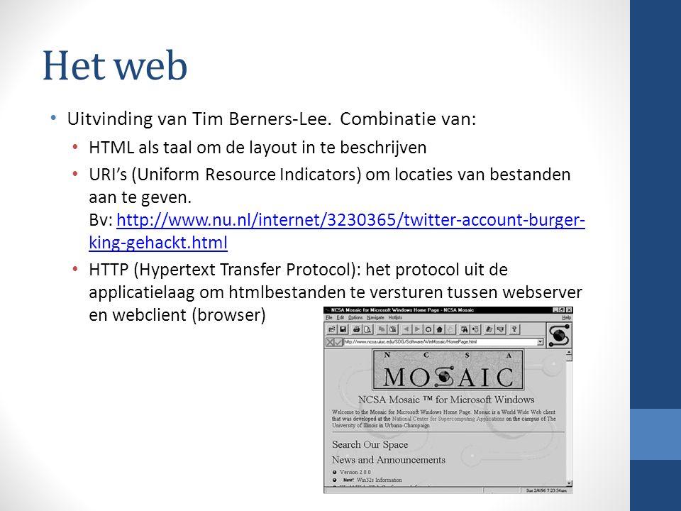 Het web Uitvinding van Tim Berners-Lee.