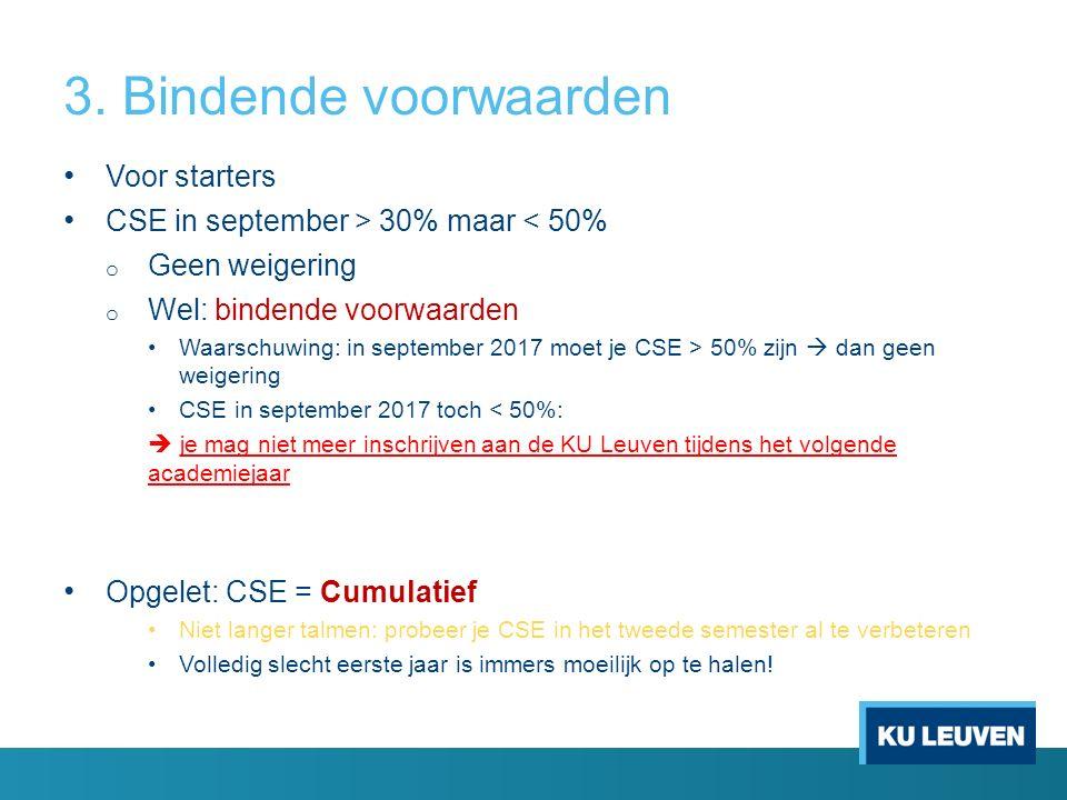 3. Bindende voorwaarden Voor starters CSE in september > 30% maar < 50% o Geen weigering o Wel: bindende voorwaarden Waarschuwing: in september 2017 m