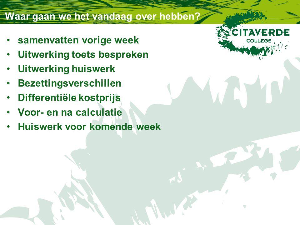 Samenvatting kostprijs Wat weten we nog.