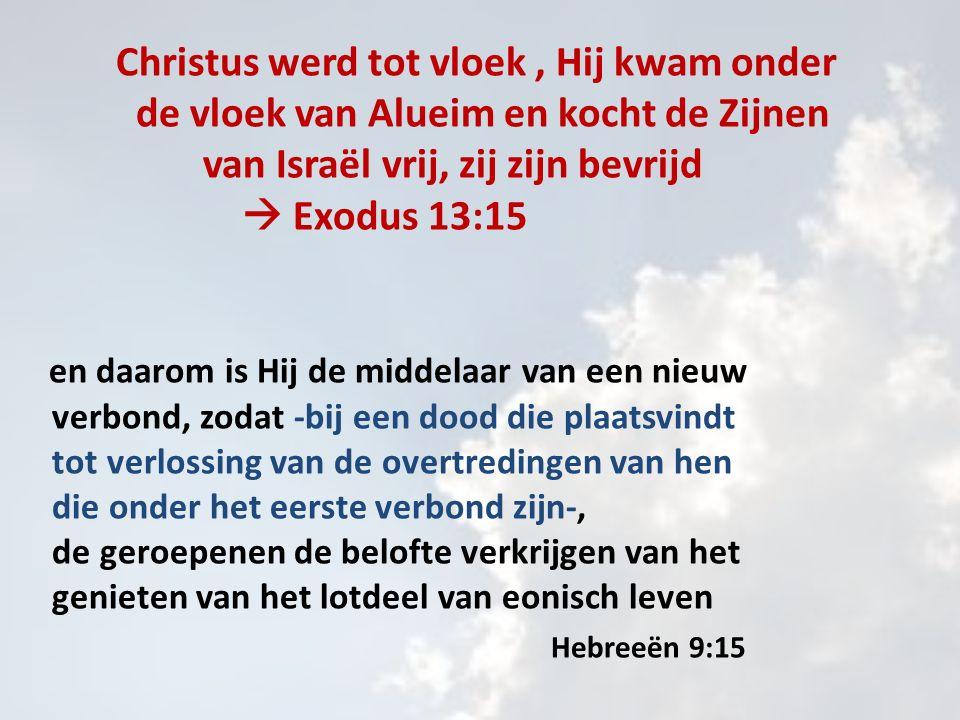 Christus werd tot vloek, Hij kwam onder de vloek van Alueim en kocht de Zijnen van Israël vrij, zij zijn bevrijd  Exodus 13:15 en daarom is Hij de middelaar van een nieuw verbond, zodat -bij een dood die plaatsvindt tot verlossing van de overtredingen van hen die onder het eerste verbond zijn-, de geroepenen de belofte verkrijgen van het genieten van het lotdeel van eonisch leven Hebreeën 9:15