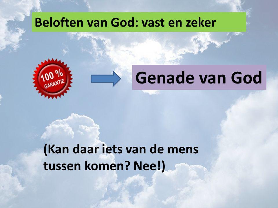 Beloften van God: vast en zeker Genade van God (Kan daar iets van de mens tussen komen? Nee!)