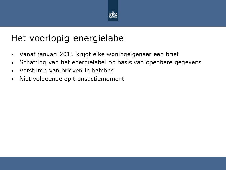 Het voorlopig energielabel Vanaf januari 2015 krijgt elke woningeigenaar een brief Schatting van het energielabel op basis van openbare gegevens Versturen van brieven in batches Niet voldoende op transactiemoment