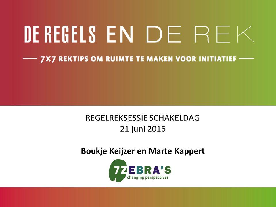 REGELREKSESSIE SCHAKELDAG 21 juni 2016 Boukje Keijzer en Marte Kappert