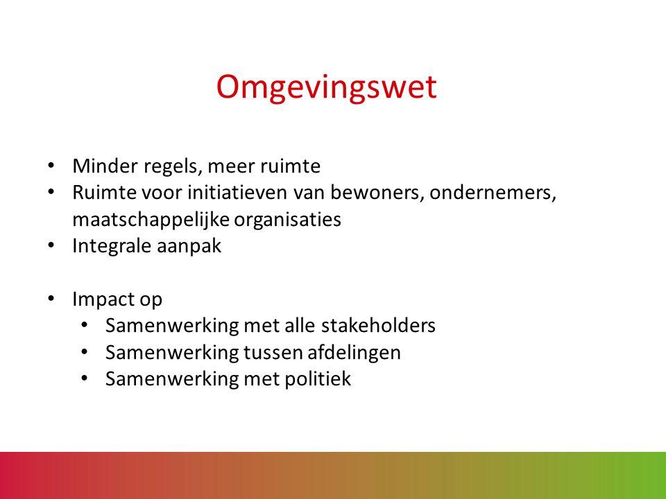 Omgevingswet Minder regels, meer ruimte Ruimte voor initiatieven van bewoners, ondernemers, maatschappelijke organisaties Integrale aanpak Impact op Samenwerking met alle stakeholders Samenwerking tussen afdelingen Samenwerking met politiek