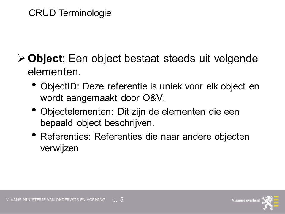 p. 5  Object: Een object bestaat steeds uit volgende elementen.