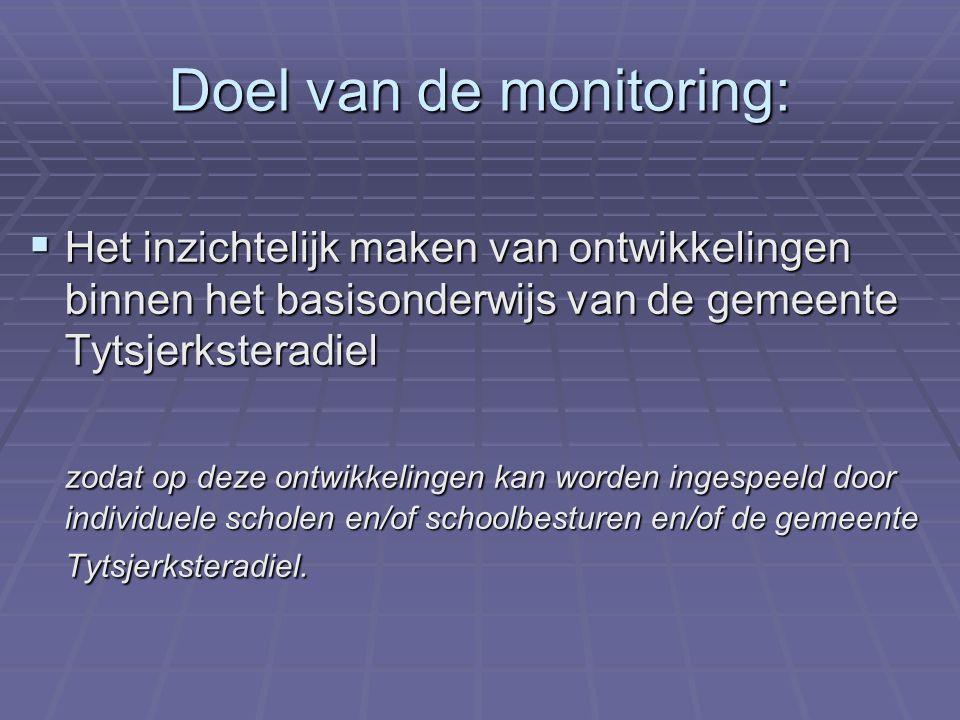Doel van de monitoring:  Het inzichtelijk maken van ontwikkelingen binnen het basisonderwijs van de gemeente Tytsjerksteradiel zodat op deze ontwikkelingen kan worden ingespeeld door individuele scholen en/of schoolbesturen en/of de gemeente Tytsjerksteradiel.