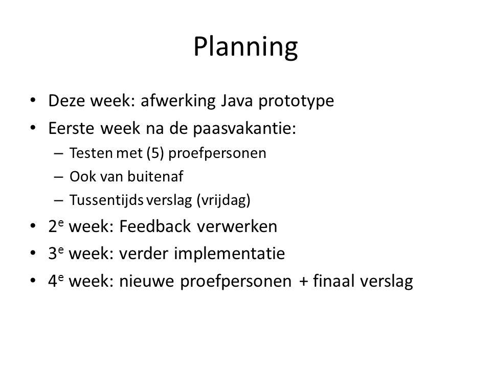 Planning Deze week: afwerking Java prototype Eerste week na de paasvakantie: – Testen met (5) proefpersonen – Ook van buitenaf – Tussentijds verslag (