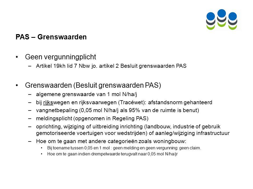 PAS en bestemmingsplannen – Depositieruimte grenswaarden Bestemmingsplanvoorschriften verbod op toename stikstofdepositie Stikstofplafond (ABRvS 6 mei 2015, ECLI:NL:RVS:2015:1411, ABRvS 29 oktober 2014, ECLI:NL:RVS:2014:3866) koppeling referentiesituatie en ruimte PAS (flexibel expliciete verwijzing naar grenswaarde uit Besluit grenswaarden PAS).