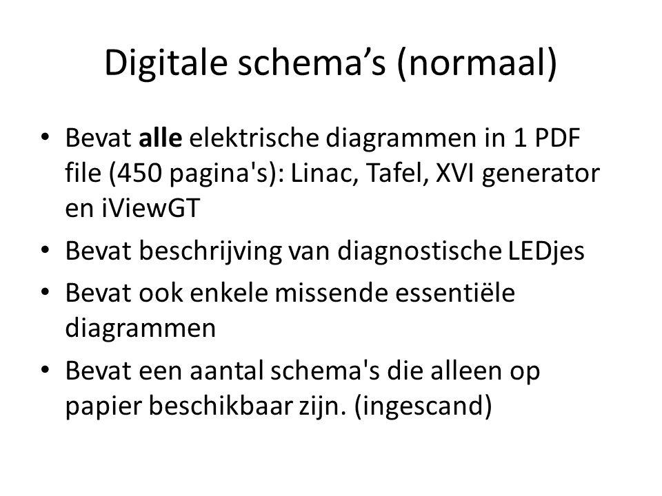 Digitale schema's (normaal) Bevat alle elektrische diagrammen in 1 PDF file (450 pagina s): Linac, Tafel, XVI generator en iViewGT Bevat beschrijving van diagnostische LEDjes Bevat ook enkele missende essentiële diagrammen Bevat een aantal schema s die alleen op papier beschikbaar zijn.