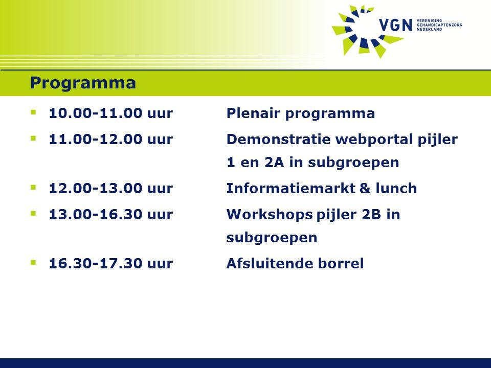 Programma  10.00-11.00 uurPlenair programma  11.00-12.00 uurDemonstratie webportal pijler 1 en 2A in subgroepen  12.00-13.00 uurInformatiemarkt & lunch  13.00-16.30 uurWorkshops pijler 2B in subgroepen  16.30-17.30 uurAfsluitende borrel