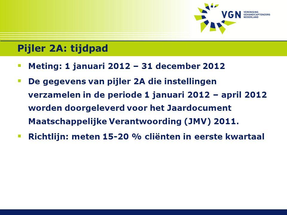 Pijler 2A: tijdpad  Meting: 1 januari 2012 – 31 december 2012  De gegevens van pijler 2A die instellingen verzamelen in de periode 1 januari 2012 – april 2012 worden doorgeleverd voor het Jaardocument Maatschappelijke Verantwoording (JMV) 2011.