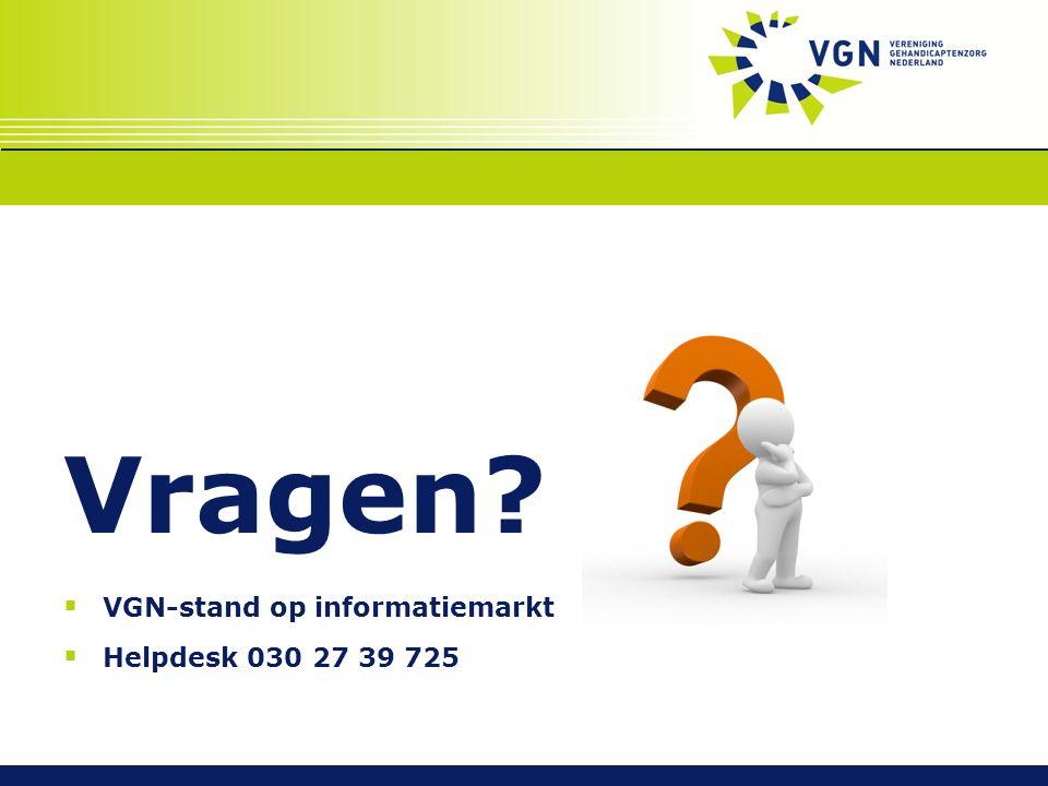 Vragen  VGN-stand op informatiemarkt  Helpdesk 030 27 39 725