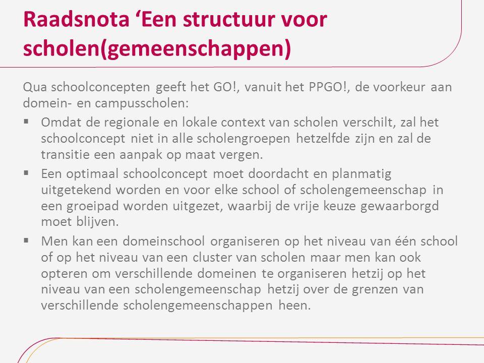 Raadsnota 'Een structuur voor scholen(gemeenschappen) Qua schoolconcepten geeft het GO!, vanuit het PPGO!, de voorkeur aan domein- en campusscholen: 