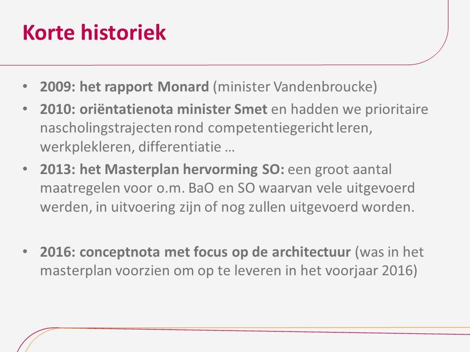 Korte historiek 2009: het rapport Monard (minister Vandenbroucke) 2010: oriëntatienota minister Smet en hadden we prioritaire nascholingstrajecten ron