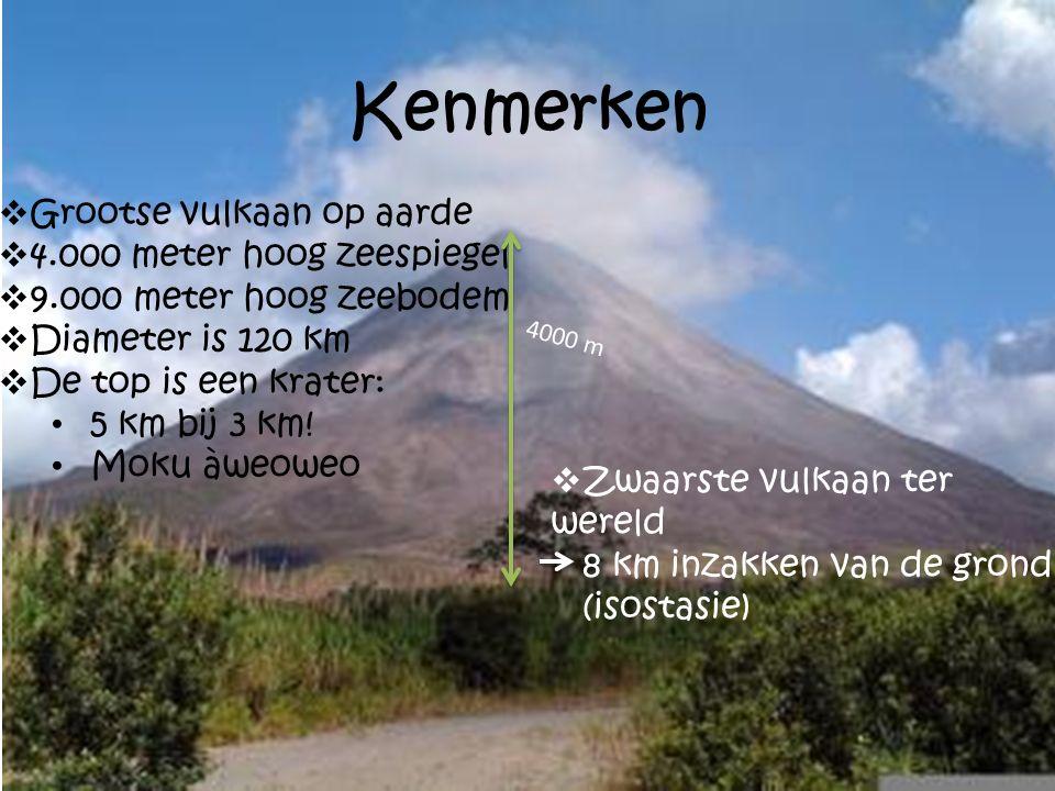 Kenmerken  Grootse vulkaan op aarde  4.000 meter hoog zeespiegel  9.000 meter hoog zeebodem  Diameter is 120 km  De top is een krater: 5 km bij 3