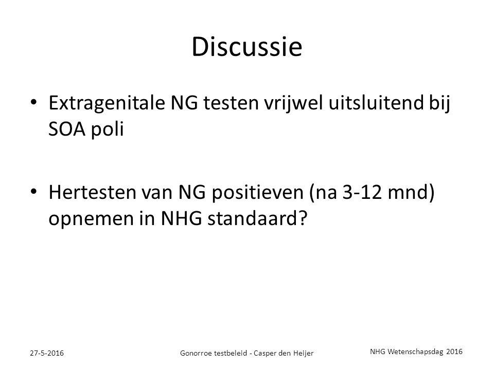 Discussie Extragenitale NG testen vrijwel uitsluitend bij SOA poli Hertesten van NG positieven (na 3-12 mnd) opnemen in NHG standaard.