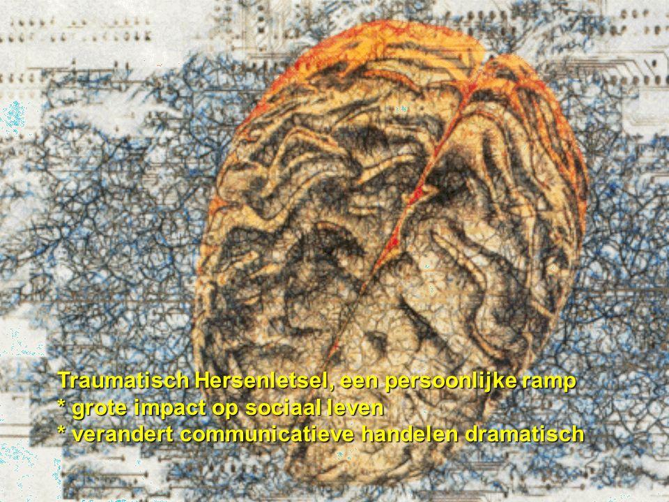 Communicatie: orde scheppen in de chaos communicatie na vliegtuigcrash Traumatisch Hersenletsel, een persoonlijke ramp * grote impact op sociaal leven * verandert communicatieve handelen dramatisch