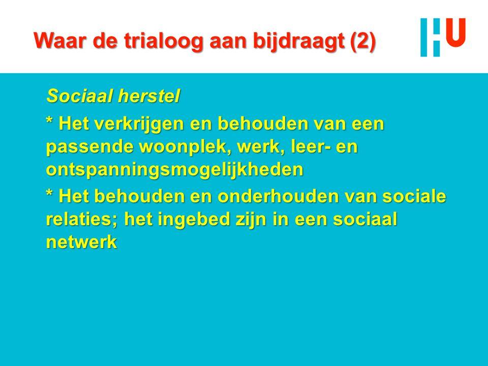Waar de trialoog aan bijdraagt (2) Sociaal herstel * Het verkrijgen en behouden van een passende woonplek, werk, leer- en ontspanningsmogelijkheden * Het behouden en onderhouden van sociale relaties; het ingebed zijn in een sociaal netwerk