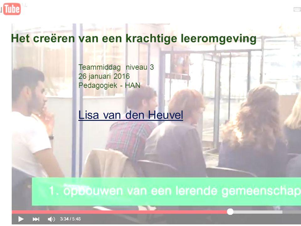 Het creëren van een krachtige leeromgeving Teammiddag niveau 3 26 januari 2016 Pedagogiek - HAN Lisa van den Heuvel