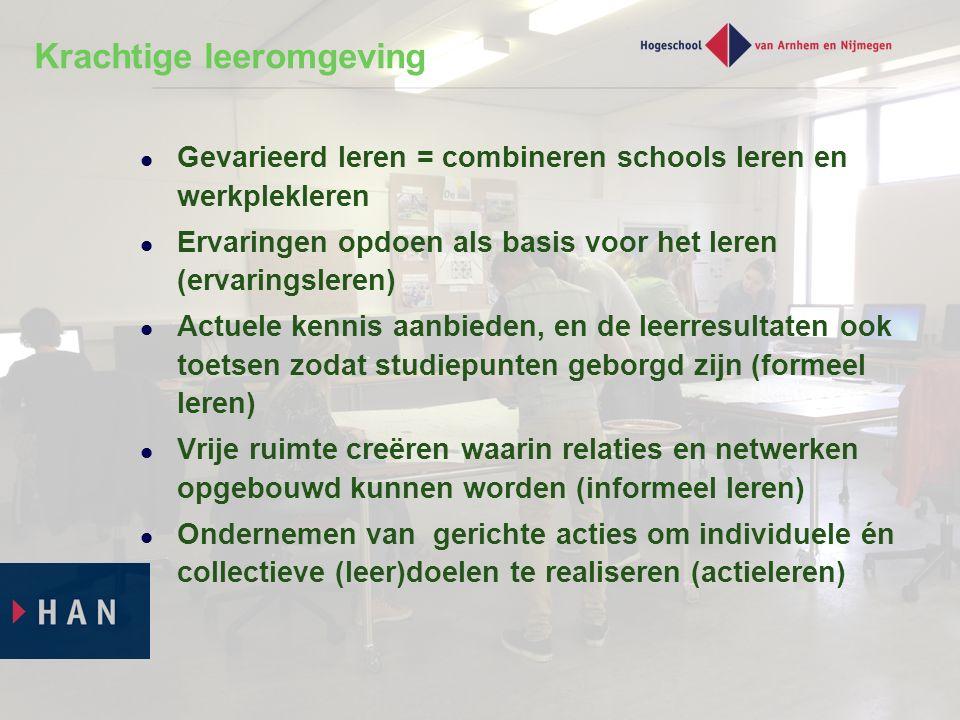Krachtige leeromgeving Gevarieerd leren = combineren schools leren en werkplekleren Ervaringen opdoen als basis voor het leren (ervaringsleren) Actuel
