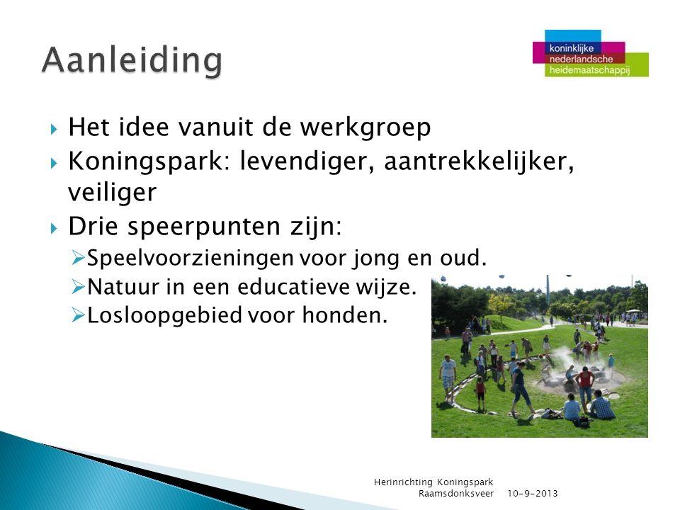  Het idee vanuit de werkgroep  Koningspark: levendiger, aantrekkelijker, veiliger  Drie speerpunten zijn:  Speelvoorzieningen voor jong en oud. 