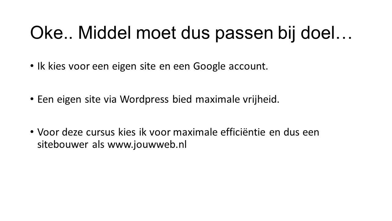 Oke.. Middel moet dus passen bij doel… Ik kies voor een eigen site en een Google account.