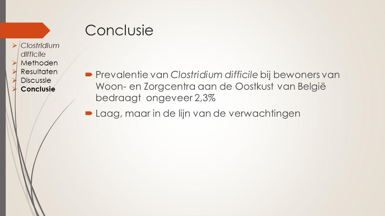Conclusie  Prevalentie van Clostridium difficile bij bewoners van Woon- en Zorgcentra aan de Oostkust van België bedraagt ongeveer 2,3%  Laag, maar in de lijn van de verwachtingen  Clostridium difficile  Methoden  Resultaten  Discussie  Conclusie