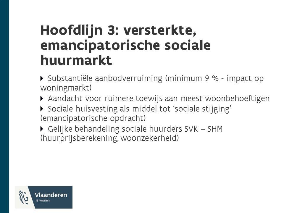Hoofdlijn 3: versterkte, emancipatorische sociale huurmarkt Substantiële aanbodverruiming (minimum 9 % - impact op woningmarkt) Aandacht voor ruimere toewijs aan meest woonbehoeftigen Sociale huisvesting als middel tot 'sociale stijging' (emancipatorische opdracht) Gelijke behandeling sociale huurders SVK – SHM (huurprijsberekening, woonzekerheid)
