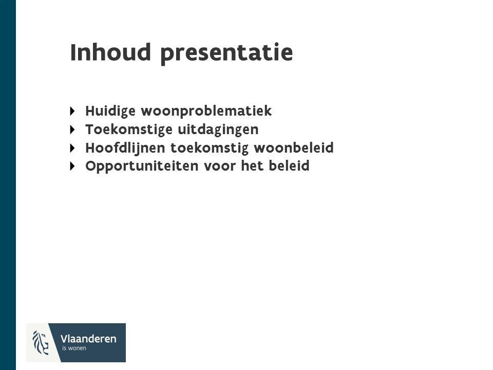 Inhoud presentatie Huidige woonproblematiek Toekomstige uitdagingen Hoofdlijnen toekomstig woonbeleid Opportuniteiten voor het beleid