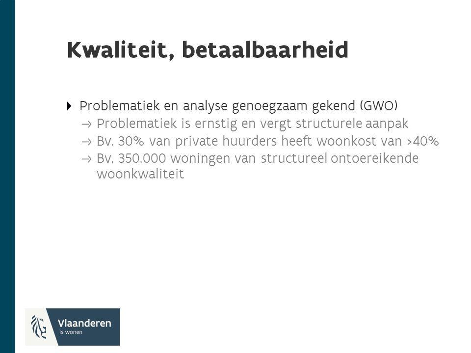 Kwaliteit, betaalbaarheid Problematiek en analyse genoegzaam gekend (GWO) Problematiek is ernstig en vergt structurele aanpak Bv.