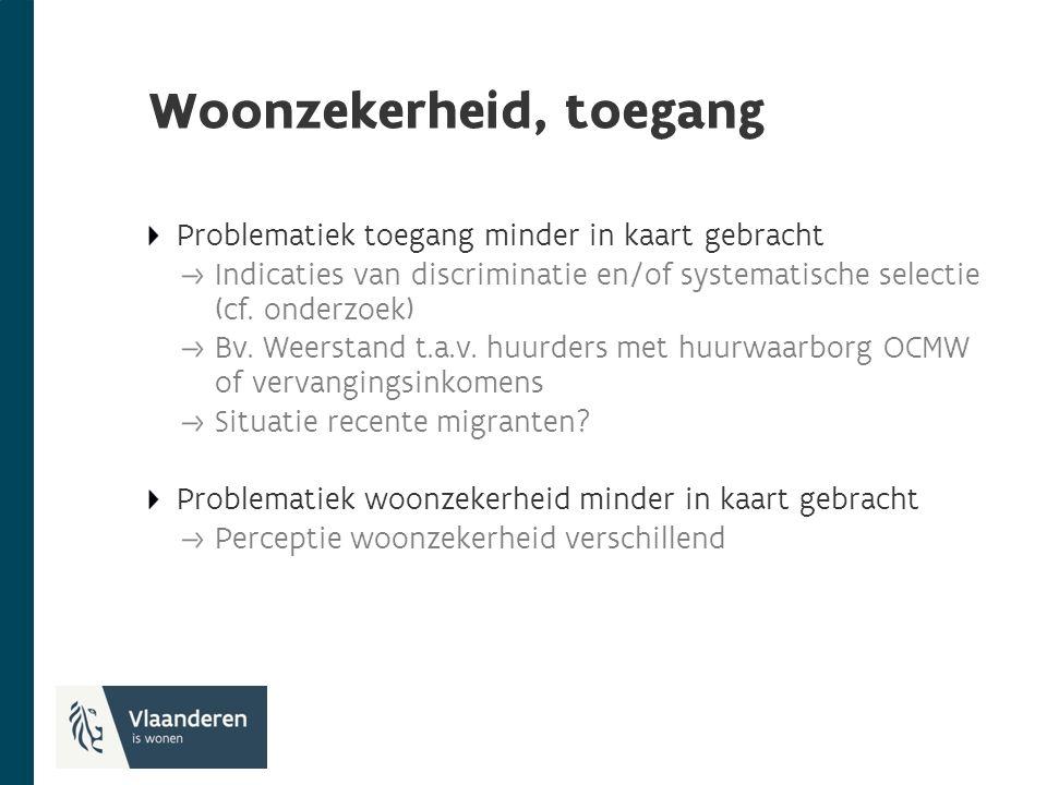 Woonzekerheid, toegang Problematiek toegang minder in kaart gebracht Indicaties van discriminatie en/of systematische selectie (cf.