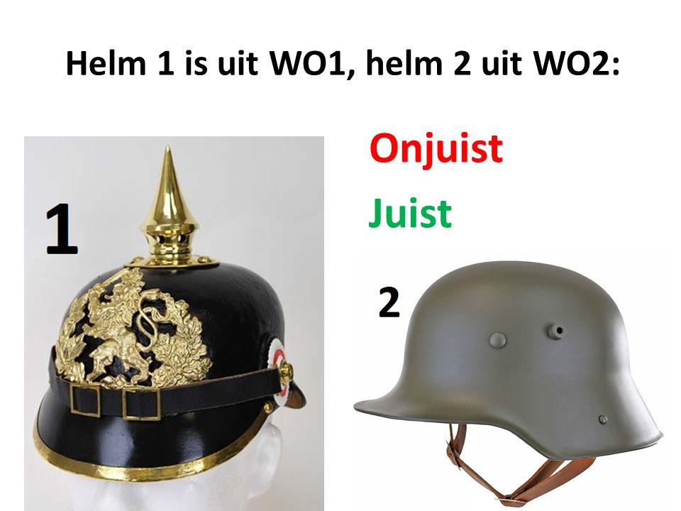 Helm 1 is uit WO1, helm 2 uit WO2: Onjuist Juist