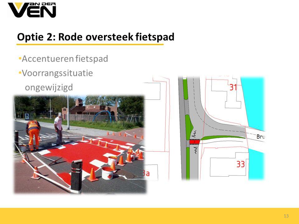 Accentueren fietspad Voorrangssituatie ongewijzigd Optie 2: Rode oversteek fietspad 13