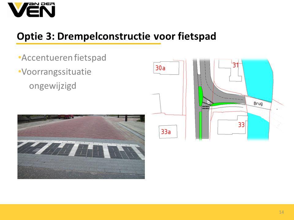 Accentueren fietspad Voorrangssituatie ongewijzigd Optie 3: Drempelconstructie voor fietspad 14