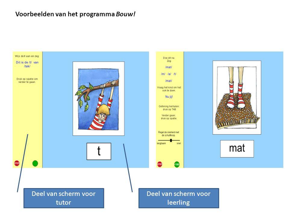 Voorbeelden van het programma Bouw! Deel van scherm voor tutor Deel van scherm voor leerling