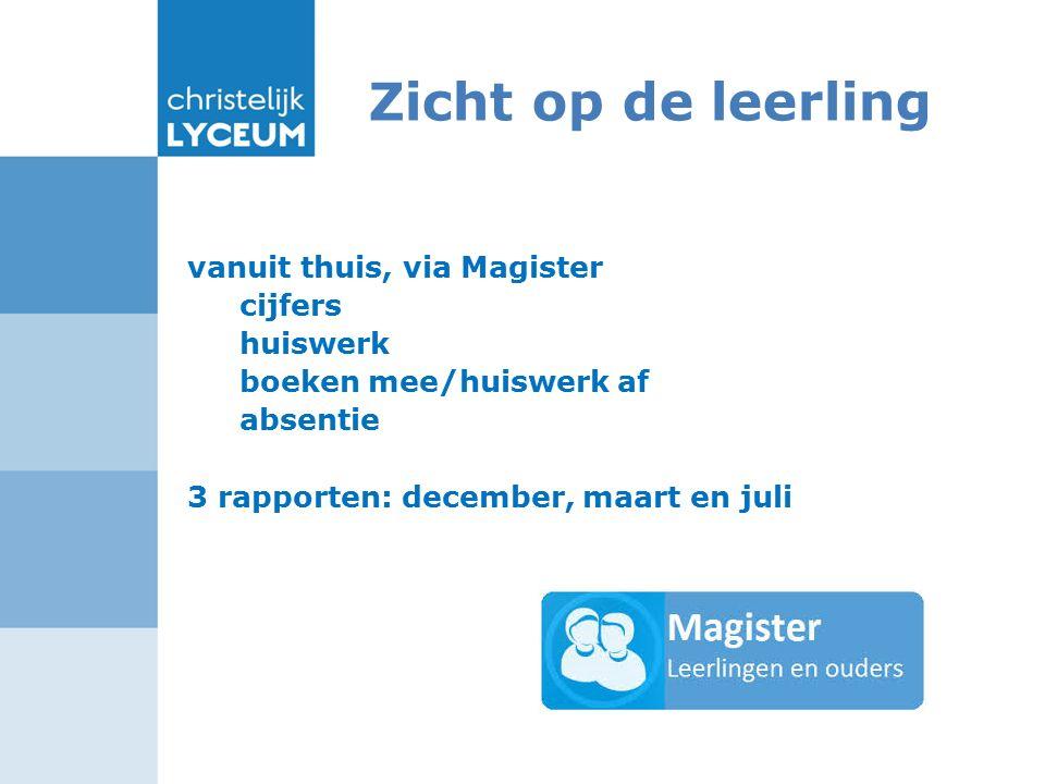 Zicht op de leerling vanuit thuis, via Magister cijfers huiswerk boeken mee/huiswerk af absentie 3 rapporten: december, maart en juli