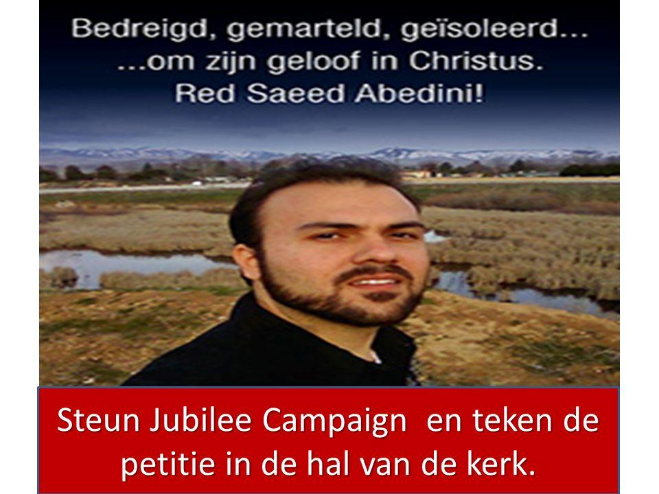 Steun Jubilee Campaign en teken de petitie in de hal van de kerk.