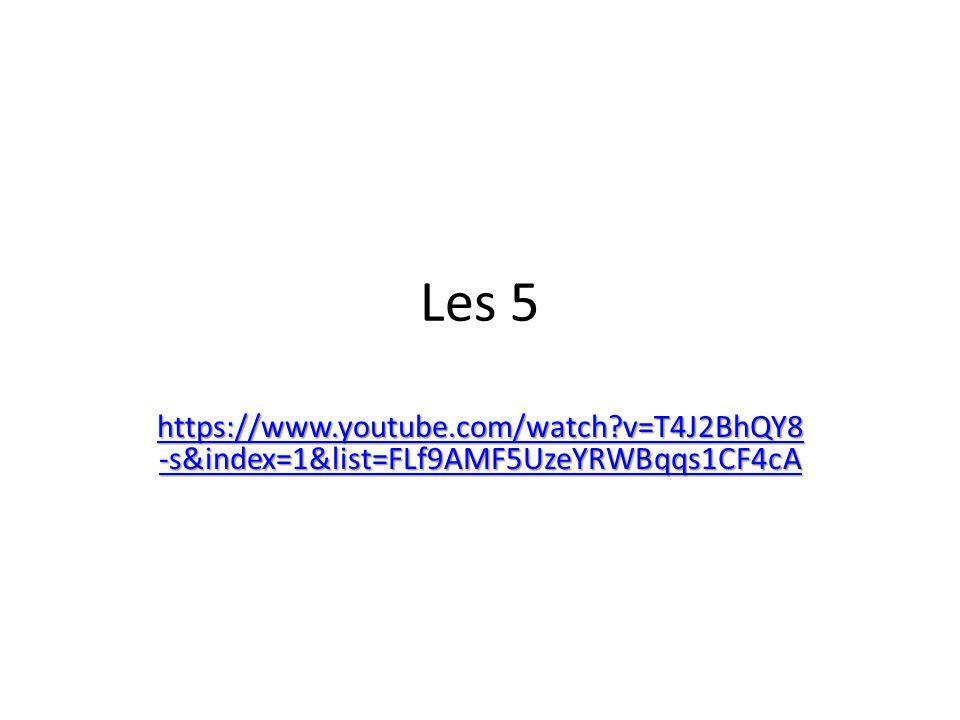Les 5 https://www.youtube.com/watch?v=T4J2BhQY8 -s&index=1&list=FLf9AMF5UzeYRWBqqs1CF4cA https://www.youtube.com/watch?v=T4J2BhQY8 -s&index=1&list=FLf