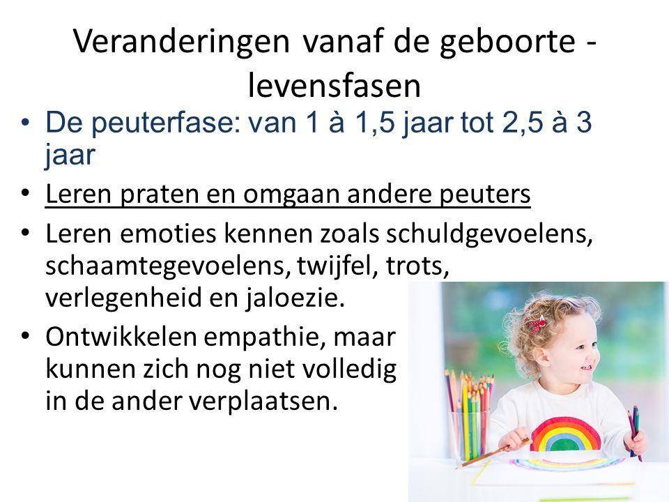 Veranderingen vanaf de geboorte - levensfasen De peuterfase: van 1 à 1,5 jaar tot 2,5 à 3 jaar Leren praten en omgaan andere peuters Leren emoties ken