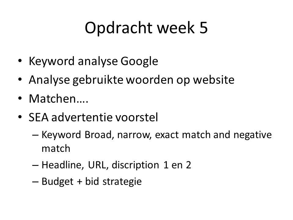 Opdracht week 5 Keyword analyse Google Analyse gebruikte woorden op website Matchen….