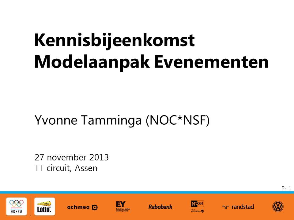 Dia 1 Kennisbijeenkomst Modelaanpak Evenementen 27 november 2013 TT circuit, Assen Yvonne Tamminga (NOC*NSF)