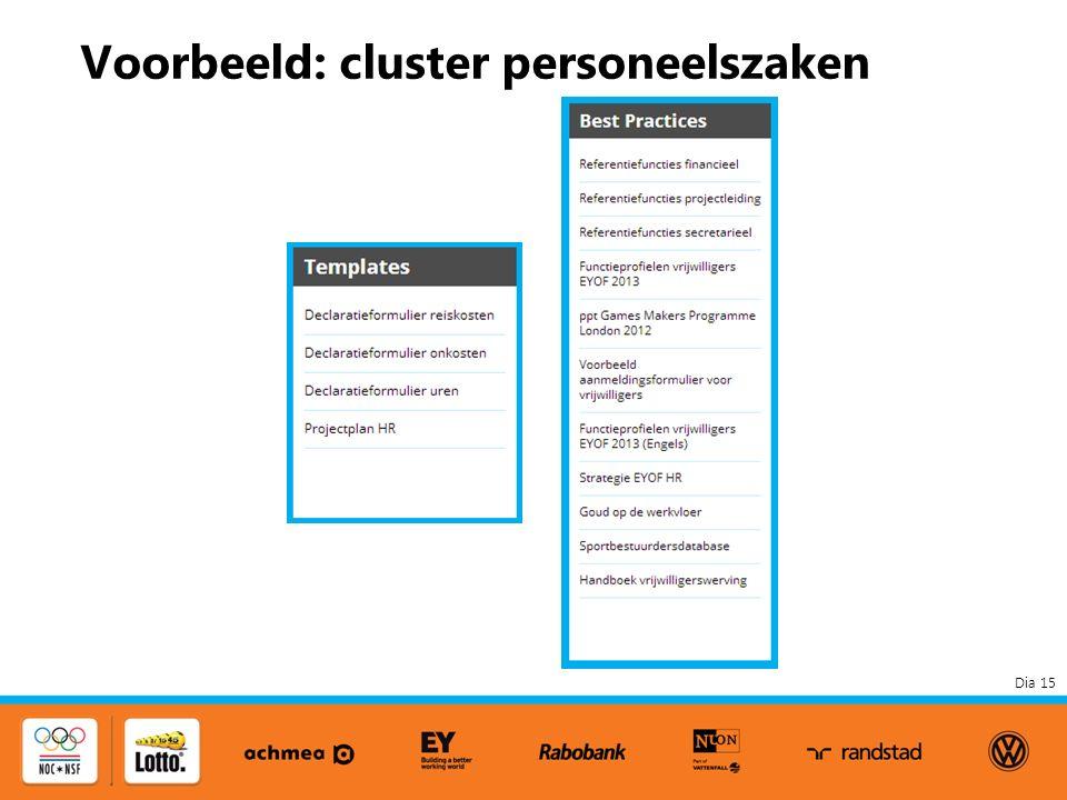 Dia 15 Voorbeeld: cluster personeelszaken
