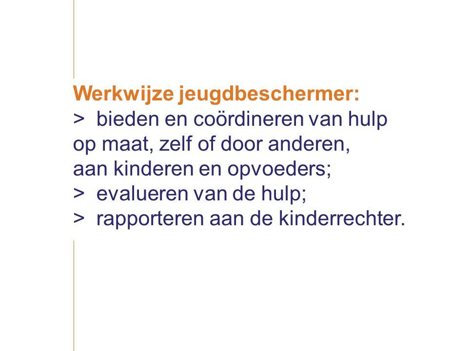 Werkwijze jeugdbeschermer: >bieden en coördineren van hulp op maat, zelf of door anderen, aan kinderen en opvoeders; >evalueren van de hulp; >rapporteren aan de kinderrechter.