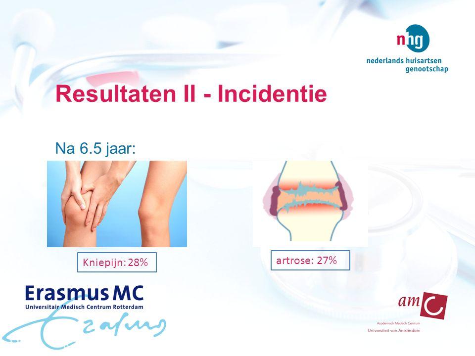 Resultaten II - Incidentie Na 6.5 jaar: artrose: 27% Kniepijn: 28%