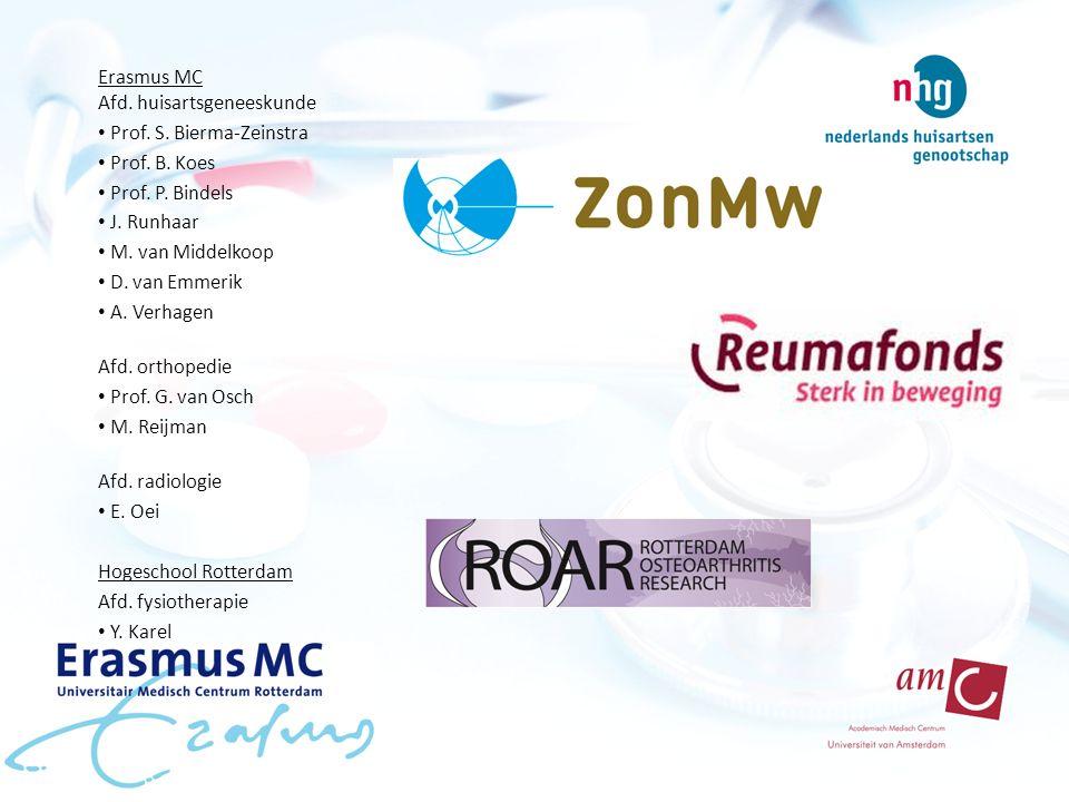 Erasmus MC Afd. huisartsgeneeskunde Prof. S. Bierma-Zeinstra Prof.