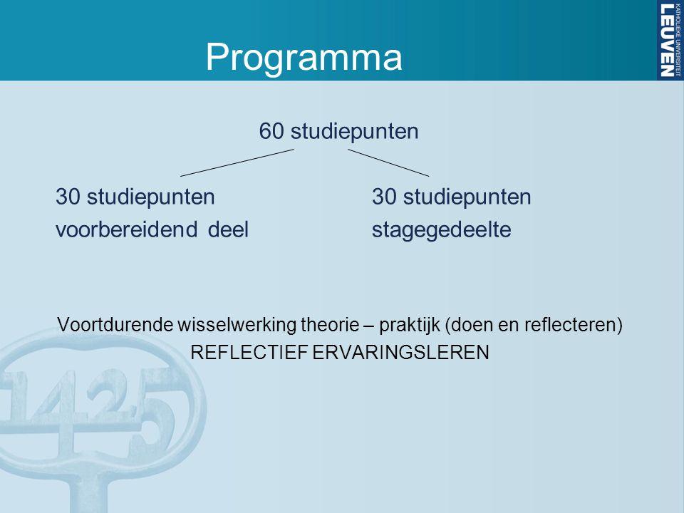 Programma 60 studiepunten30 studiepunten voorbereidend deelstagegedeelte Voortdurende wisselwerking theorie – praktijk (doen en reflecteren) REFLECTIEF ERVARINGSLEREN