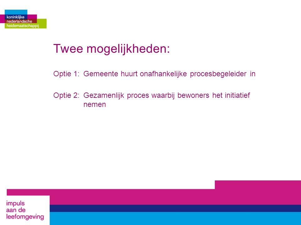 Twee mogelijkheden: Optie 1:Gemeente huurt onafhankelijke procesbegeleider in Optie 2: Gezamenlijk proces waarbij bewoners het initiatief nemen