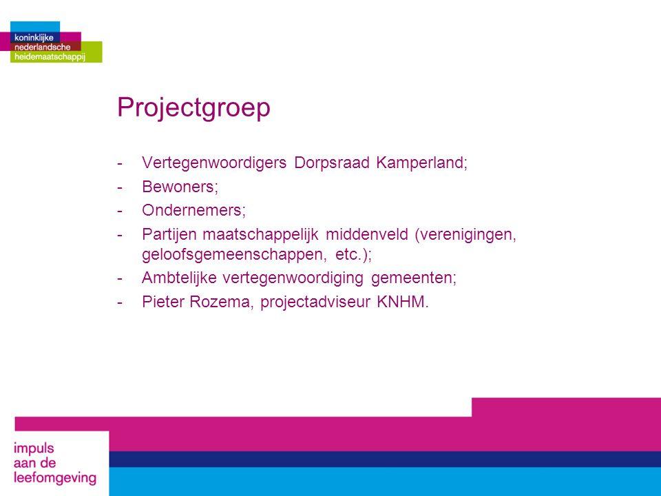 Projectgroep -Vertegenwoordigers Dorpsraad Kamperland; -Bewoners; -Ondernemers; -Partijen maatschappelijk middenveld (verenigingen, geloofsgemeenschap